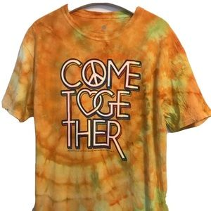 The Beatles Come Together T-Shirt Tie Dye Orange